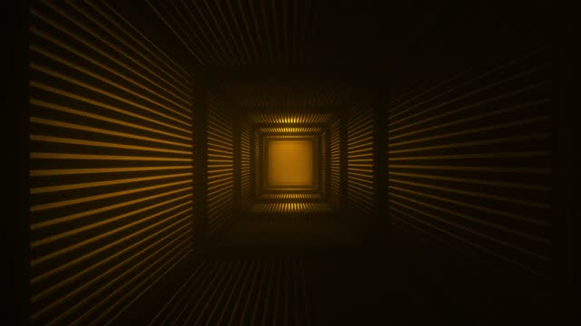 Square wooden tunnel with a bright volumetric orange shimmering light. Abstract sci fi background. Corridor. Futuristic concept. Glow in a room with a blinds wall. Moving forward. 3d animation in 4K