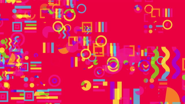 Squares and circles etc simple and flat shapes graphical loop motion.