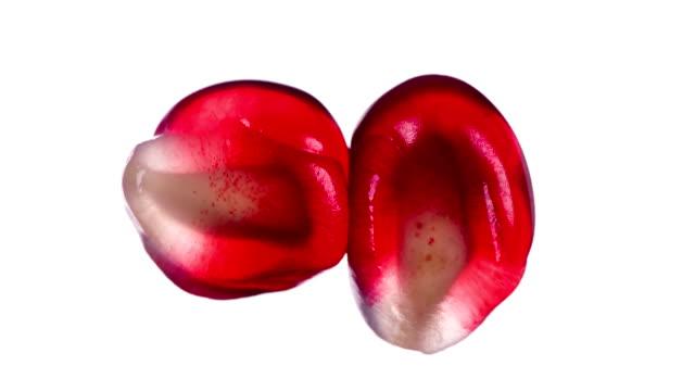 vídeos de stock e filmes b-roll de squeeze juice from pomegranate seeds - romã