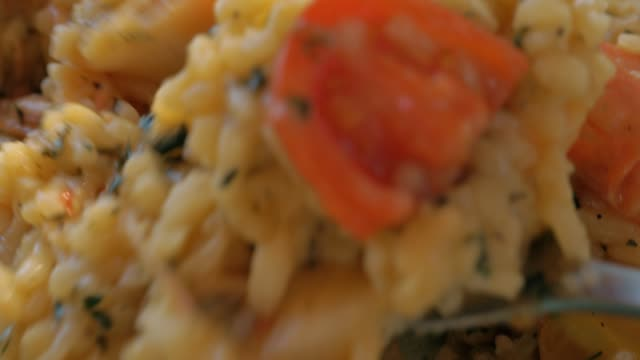 Squid and shrimp risotto dish video