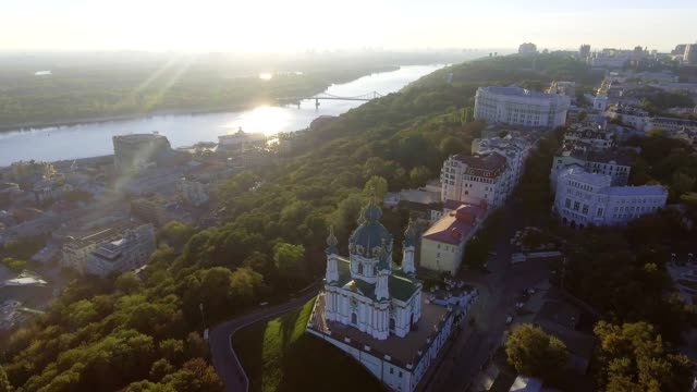 St. Andrew's Church (Kiev) Ukraine. Cityscape from a height. video