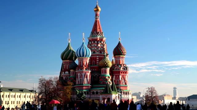 st. basil's cathedral on red square in moscow. - röda torget bildbanksvideor och videomaterial från bakom kulisserna