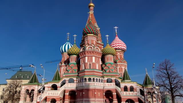 st. basils katedral timelapse hyperlapse i moskva, ryssland - basilika ört bildbanksvideor och videomaterial från bakom kulisserna