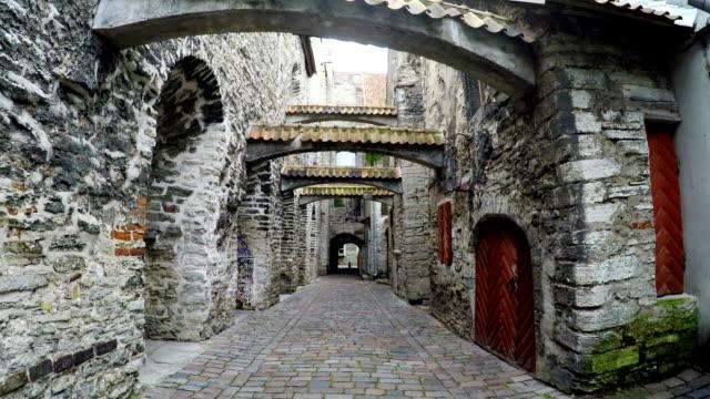 st. catherine passage a little walkway in the old city tallinn estonia - kate middleton filmów i materiałów b-roll