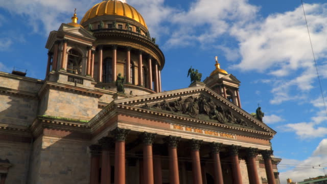 St. Isaac's Cathedral against the sky with clouds. Saint-Petersburg video