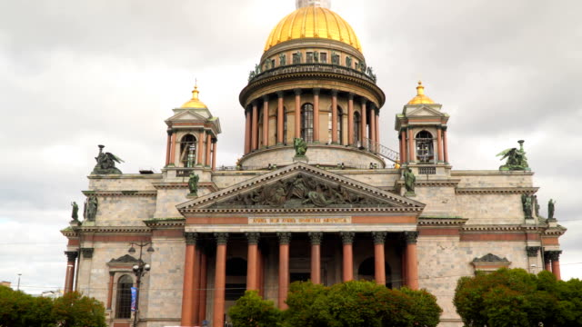 St. Isaac's Cathedral in the background of a cloudy sky St. Petersburg video