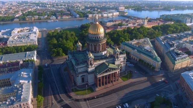 St. Isaac's Cathedral of St. Petersburg Aerial Shoot St. Isaac's Cathedral of St. Petersburg Aerial Shoot treedeo saint petersburg stock videos & royalty-free footage