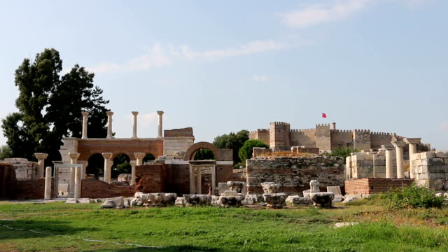 St. Jean Ruins and Selcuk Castle in Backround video