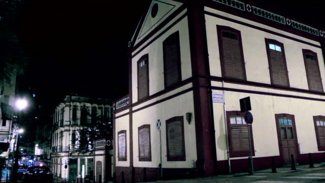 St. Lazarus Quarter area in Macau at night video