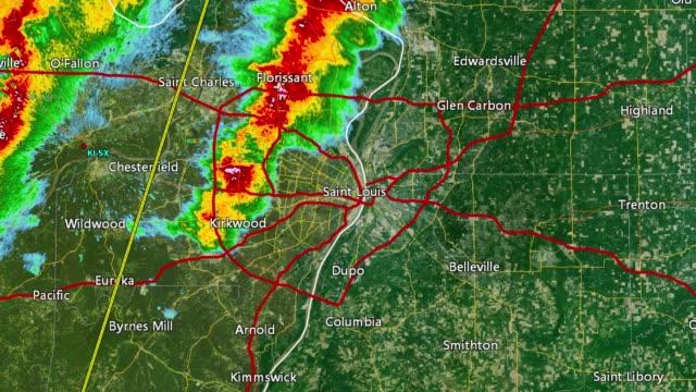 2011 st. louis, mo tornado doppler radar - tornado video stock e b–roll