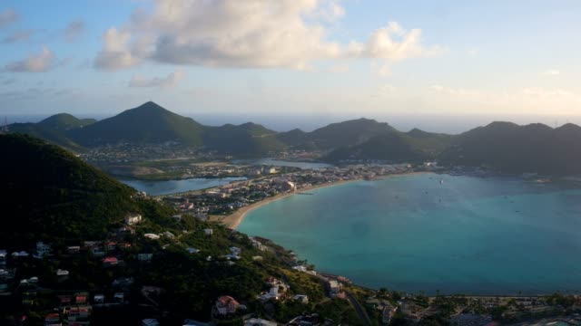 st maartin aerial v40 flying over little bay area panning with panoramic island views. - philipsburg saint martin olandese video stock e b–roll