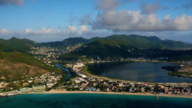 st maartin aerial v42 flying over great bay area panning with philipsburg and island views. - philipsburg saint martin olandese video stock e b–roll