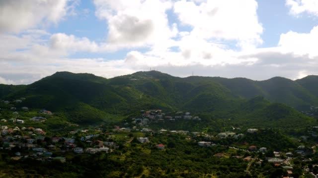 st maartin aerial v80 flying up hillside towards peak over rambaud area. - saint martin caraibi video stock e b–roll