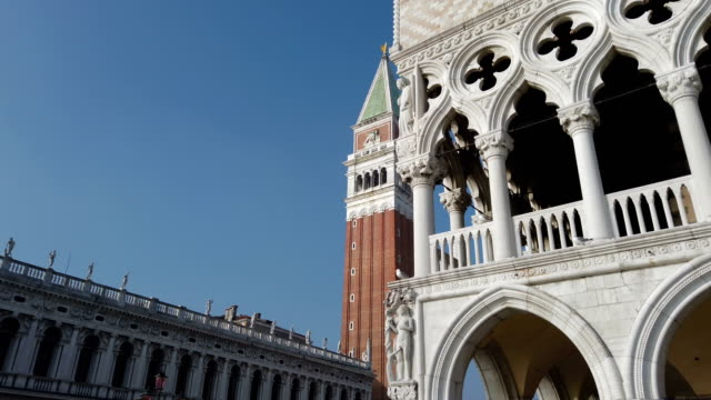 st. mark's cathedral tower and statue in venice - gothic architecture stock videos & royalty-free footage
