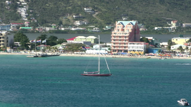 st martin island scenery - philipsburg saint martin olandese video stock e b–roll