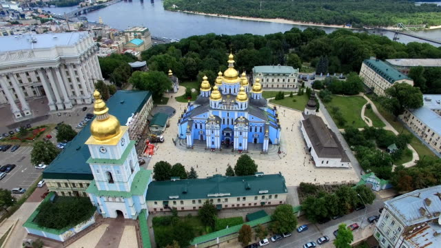 St. Michaels Cathedral, Ministry of Foreign Affairs of Kyiv cityscape river Dnipro video