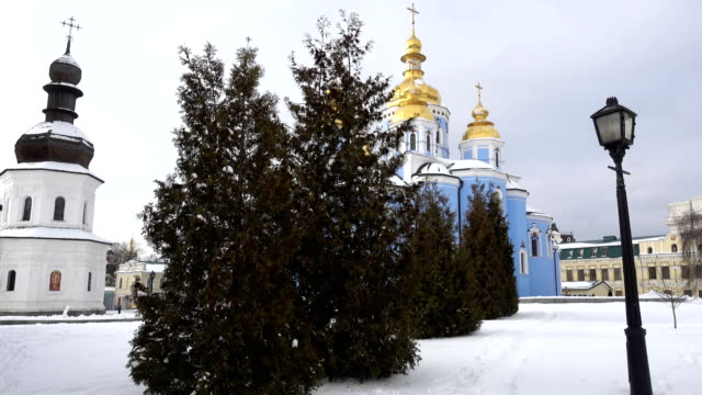 St. Michael's Golden-Domed Cathedral on a Winter Clear Day. Kiev video