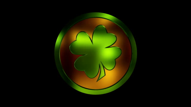 St. Patrick Coin Spinning. Рot celtic culture, clover video