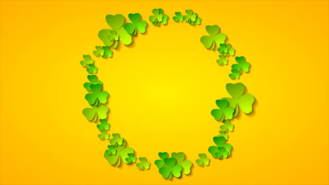 St Patrick Day abstract motion background with ring from shamrock leaves