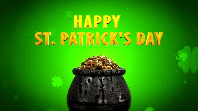 St Patrick Day Shamrock and Golden coins St Patrick Day symbols pot of gold video