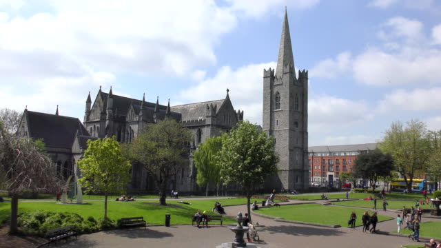 St Patricks Cathedral - Dublin, Ireland View of St Patrick's Cathedral and park in Dublin, Ireland. cathedrals stock videos & royalty-free footage