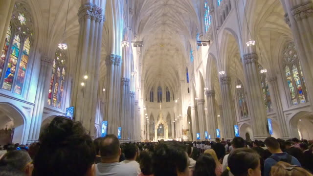 St Patricks Cathedral interior view with service in New York City, Manhattan, New York video