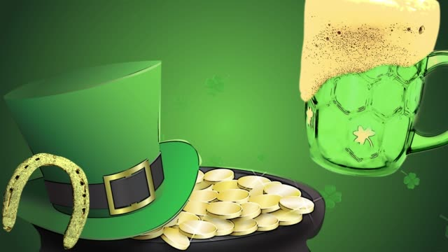 St Patrick's day animation, clover leafs rotating in the background with leprechaun hut, horseshoe and green beer, cartoon