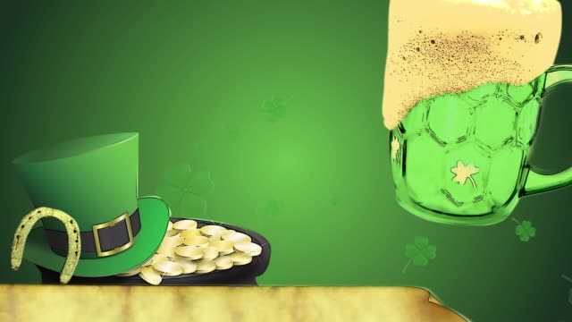 St Patrick's day animation, clover leafs rotating in the background with leprechaun hut, horseshoe and green beer, old paper for text- cartoon