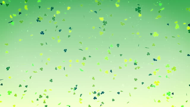 St. Patrick's day clover leaf background, looped video
