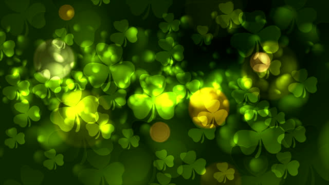Day del St. Patricks bokeh verde Resumen vídeo de animación - vídeo