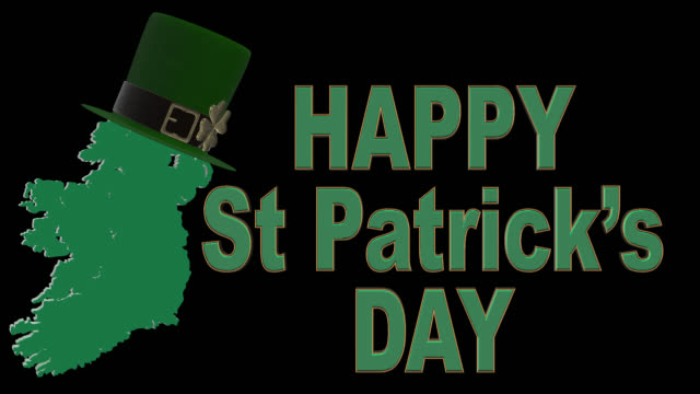 St Patricks Day greeting in English Alpha channel will be included when downloading the 4K Apple ProRes 4444 file only. shamrock stock videos & royalty-free footage