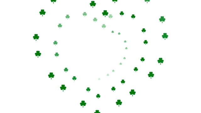 stockvideo's en b-roll-footage met st. patrick's day romantische shamrock & hart animatie (naadloze lus video) - klavertje vier