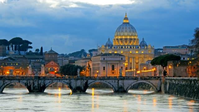 St. Peter's Basilica, Ponte Sant Angelo Bridge, Vatican. Rome, Italy. Time lapse video