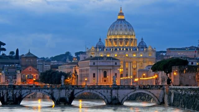 st. peter's basilica, ponte sant angelo bridge, vatican. rome, italy. time lapse - peter the apostle bildbanksvideor och videomaterial från bakom kulisserna