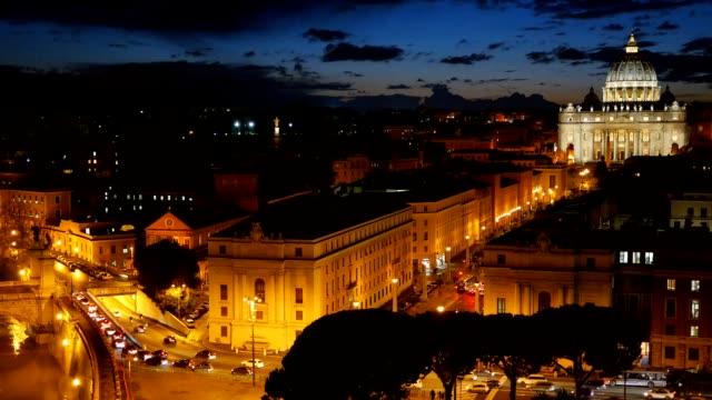 st. peter's basilica, vatican. rome, italy. after sunset view - peter the apostle bildbanksvideor och videomaterial från bakom kulisserna