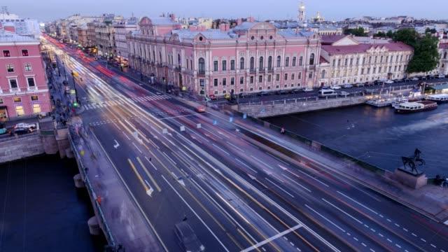 st. petersburg, view of nevsky prospekt and anichkov bridge from the roof - san pietroburgo russia video stock e b–roll