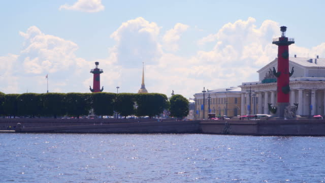 st. petersburg. view of the vasilievsky island - san pietroburgo russia video stock e b–roll