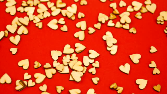 St. Valentine's Day. Falling hearts. Slow motion. Red background easy to keying. Version 1.