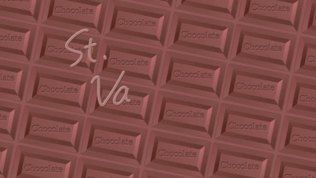 チョコレートの背景を持つ「聖バレンタインの日」ロゴ - バレンタイン チョコ点の映像素材/bロール