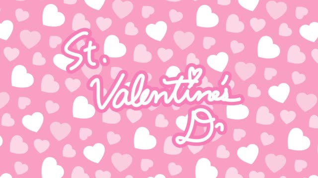"""""""st. valentine's day"""" logo with heart background - kawaii video stock e b–roll"""