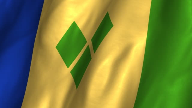 St Vincent The Grenadines Flag Waving Looping Stock Video