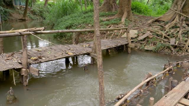Stabilized Shot Of Small Bridge Across A Beautiful River