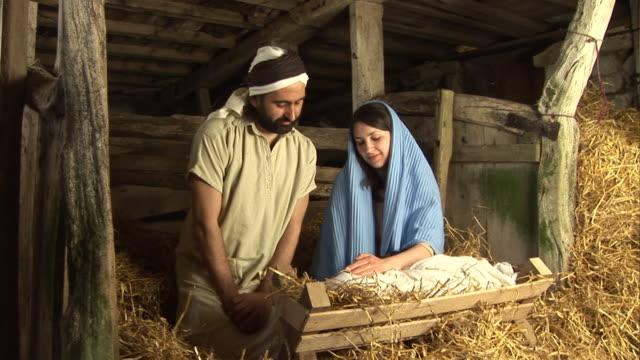 Stable Natvitiy Scene at Christmas, Mary, Jospeh, Baby Jesus video