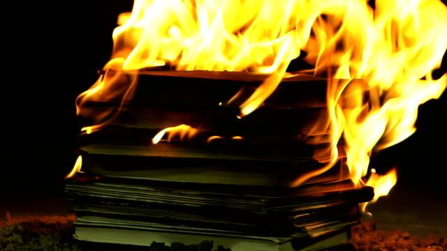 stack of books burning - censura video stock e b–roll