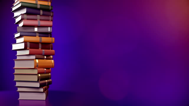 a stack of books on a blue background.  4k 3d rendering. - book video stock e b–roll