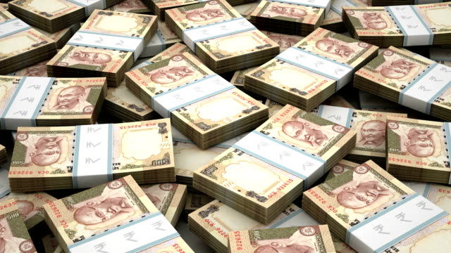 Stack of Indian Rupee video