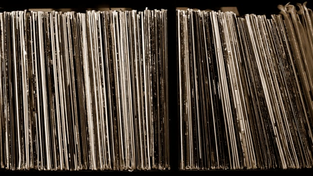 Stack of old vinyl records video