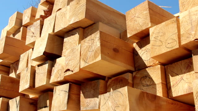 Stack of square wooden chips at construction yard Stack of square wooden chips at construction yard. Dolly pan shot, blue sky timber stock videos & royalty-free footage