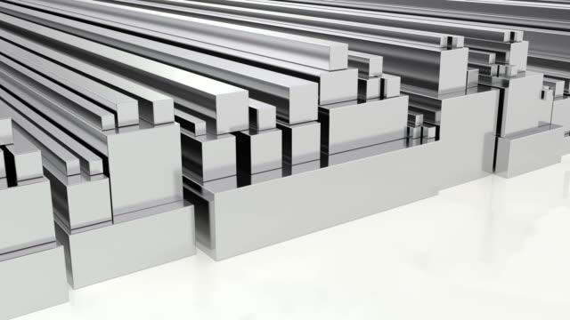 stapel von stahlquadratstangen, loop-animation. 3d-rendering - aluminium stock-videos und b-roll-filmmaterial