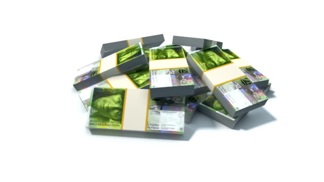 Stack of Swiss Franc bills video